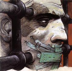 Illustration pour Amnesty International (1997) by Enki Bilal