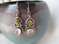 Vintage Sterling Silver Green Peridot and Moonstone Drop Dangle Earrings