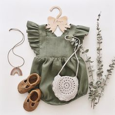 Olive Linen Vintage Romper, Baby Linen Romper, Toddler Linen Romper Lovingly handmade clothes for the little ones from RockyRacoonApparel So Cute Baby, Cute Baby Clothes, Baby Love, Cute Kids, Cute Babies, Baby Girl Clothes Boutique, Pretty Clothes, Baby Baby, Baby Outfits