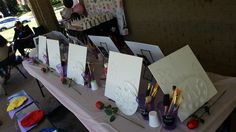 Our easels used for a kids paint party!