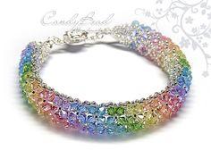 Swarovski Crystal Bracelet, Colorful Swarovski Crystals by CandyBead (B007-01) on Etsy, ¥2,128