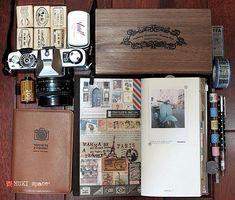 我的文青假掰組 1. travel stamps & Vivid Ink pad 2. retro american style stamps 3. Minolta XG2 4. travel .passport 5. MT tape 6. UNI-ball pen 7. Midori Traveler Notebook blog.mukispace.com/my-traveler-kit/ @2012-08-12