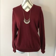 Red Wool Sweater Wool v neck sweater from express. It might be a men's but I am not sure. I wore it with leggings. Very soft and warm! V neck but not too deep. Size XL but will best fit small or medium. Express Sweaters
