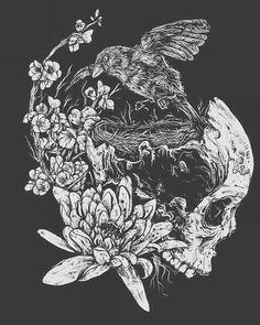 #art #arte #dibujo #draw #drawing #flowers #flores #calavera #blackandwhite #blancoynegro