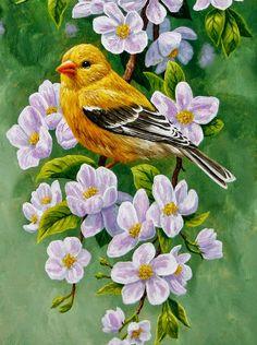 cuadro-pintado-con-flores-y-pajaros                              …