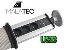 Výsuvná elektrická zásuvka Skrytá kovová rozdvojka + 2 x USB
