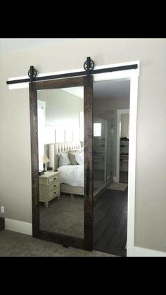 These Easy DIY Decor Projects Will Refresh Your Space for Cheap LOVE this mirrored barn door for a master bedroom! These Easy DIY Decor Projects Will Refresh Your Space for Cheap LOVE this mirrored barn door for a master bedroom! Closet Bedroom, Home Bedroom, Bedroom Decor, Bedroom Ideas, Bedroom Furniture, Modern Bedroom, Furniture Decor, Closet Mirror, Bathroom Closet