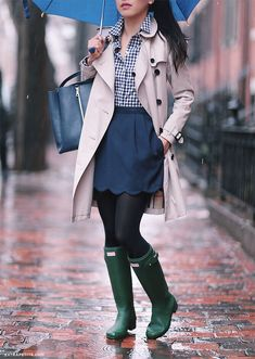 rainy day outfit hunter boots burberry trench coat