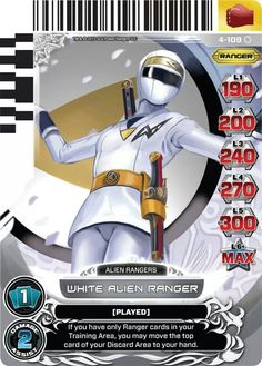White Alien Ranger Power Rangers Trading Card
