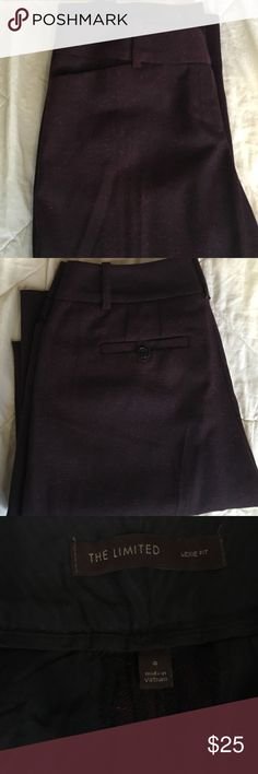 The Limited tween trouser pants Lexie fit tweed material. Worn once. Red and black thread give pants a slight subtle purple tint. Very sophisticated. Boot cut. The Limited Pants Boot Cut & Flare
