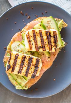 Smoked Salmon and Grilled Halloumi Avocado Toast | healthynibblesandbits.com @healthynibs