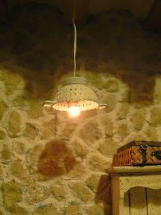 MiniEden: miniature strainer turned into a dollhouse light