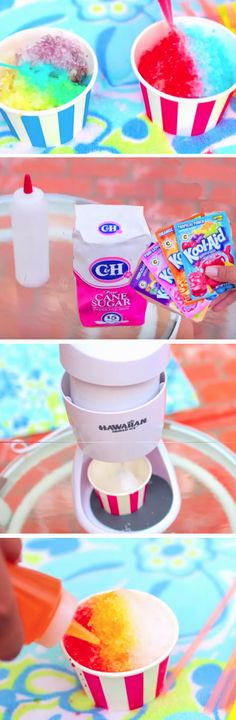 Multicolored Snow Cones | DIY Summer Party Ideas for Kids
