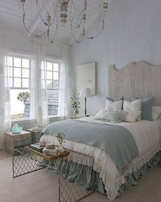 Classic French provincial feel in a duck egg blue and natural palette.