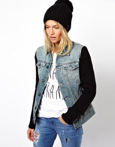 @asos.com  Knitted Sleeve Denim Jacket in Vintage Wash