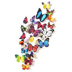 Amazon.com: Amaonm® 19 Pcs Removable Diy Pvc 3d Colorful Butterfly Wall Sticker Murals Wall Decals Wall Decorations Art Decor Decal for Nursery Room Classroom Offices Kids Bedroom Bathroom Living Room(color B): Home & Kitchen