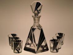 Bohemian Czech Art Deco Decanter - Liqueur Set by Karl Palda,Bottle + 6 Glasses