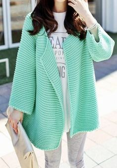Inspiration Only - the link leads to a photo only Oversize Open Front Cardigan - Mint - Chic Chunky Cardigan Outwear Mint Cardigan, Wool Cardigan, Chunky Cardigan, Mint Sweater, Open Cardigan, Mode Style, Style Me, Moda Crochet, The Cardigans