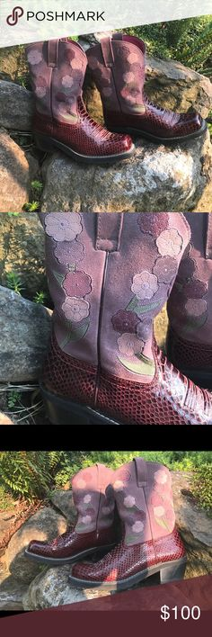 NWOT ARIAT leather suede fatbaby boots, Sz 11b Amazing ARIAT leather/suede boots with intricate purple and lilac flowers. Perfect condition, worn twice. Ariat Shoes Heeled Boots