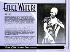 """Ethel Waters, Stars of the Harlem Renaissance. I wanted to pin this because we have not really talked about the """"stars"""" from this time and this is a good little bio of one of the female stars. Ethel Waters, Middle School History, Harlem Renaissance, African Diaspora, Female Stars, Roaring Twenties, Great Women, Spoken Word, Black History Month"""