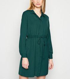 Dark Green Drawstring Waist Shirt Dress New Look Green Shirt Dress, Long Sleeve Shirt Dress, Look Dark, Teaching Outfits, Drawstring Waist, New Dress, New Look, Latest Trends, Fitness Models