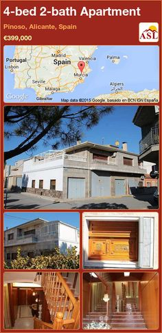 Apartment for Sale in Pinoso, Alicante, Spain with 4 bedrooms, 2 bathrooms - A Spanish Life Murcia, Valencia, Portugal, Water Type, Alicante Spain, Security Door, Boiler, Entrance Hall, Apartments For Sale