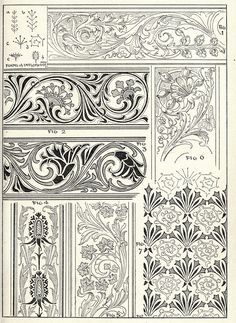 Scrollwork for borders and trim, can be used in illumination, embroidery, leather tooling Border Pattern, Border Design, Pattern Art, Leather Tooling Patterns, Leather Pattern, Gravure Metal, Art Nouveau, Scrapbook Blog, Leather Carving