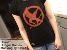 How-To: Hunger Games Mockingjay T-Shirt with Freezer Paper Stencil and Bleach Pen from Rachel of Average Jane Crafter #thehungergames #mockingjay #DIY