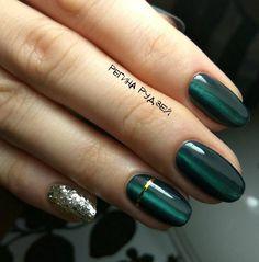 Beautiful autumn nails, Cat eye nails, Dark green nails, Dark shades nails, Fall nails 2017, Green nail designs, Modern nails, Nails ideas 2017