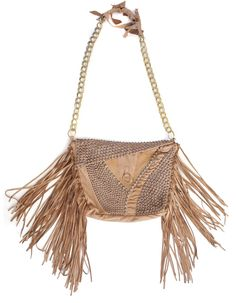 Camel with Gold Leather Fringe Bag | Cecilia De Bucourt