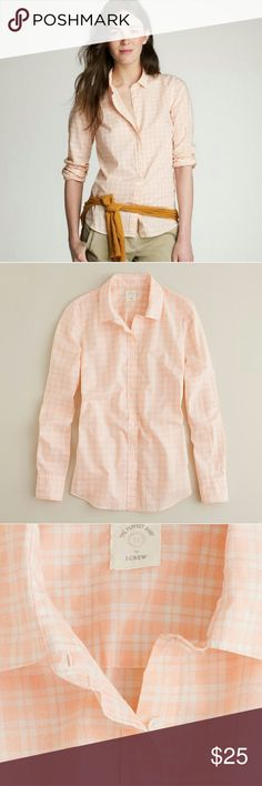 "J. Crew Shirt ""The Perfect Shirt"" in tangerine plaid. 100% Cotton. J. Crew Tops Button Down Shirts"