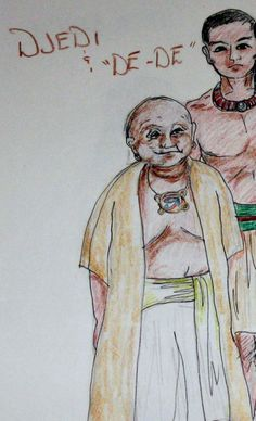 "I based this picture on the images I envisioned from ""The Westkar Papyrus"" and ""The Magician's Tale"". These men are young Prince Hordjedtef, son of King Khufu and his teacher Djedi.    In my Novel Children of Stone - Voices in Crystal after the legend takes place.  Djedi is depicted as a fat old sage.  Hordjedtef is young and vain.   Food for thought...Think if the word Jedi of Star Wars fame?  Is it a Jedi mind trick to think Great Djedi was an inspiration."