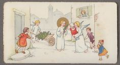 CHILDREN ANGELS  nice antique holy card 1940