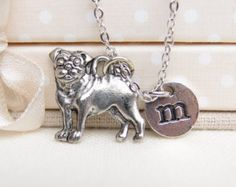 personalized pug necklace, silver pug charm, pet jewelry, doggy jewelry, kids initial necklace, pug dog pendant, small dog charm