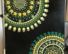 This is a (approximately canvas. Painting are all in dots. Finished spray with krylon UV resistant clear acrylic coating. Dot Art Painting, Mandala Painting, Mandala Art, Fair Lawn, Clear Acrylic, Photo Art, Original Paintings, Etsy Seller, Dots