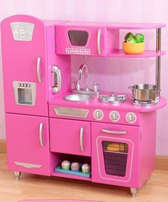 Awesome Vintage Style Gets A Modern Twist With This Play Kitchen. The KidKraft  Bubblegum Vintage Kitchen Has Old Fashioned Charm With A Modern Girl Power  Punch.