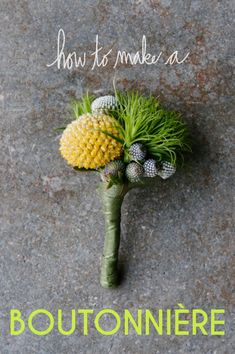 How To: Make A Boutonnière.  Pinned by Afloral.com.  Afloral.com had high-quality silk and preserved flowers and stems for your DIY wedding on a budget.
