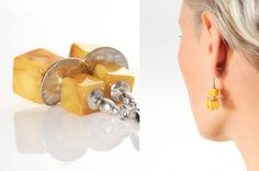 CUBE BEADS Natural Milky Amber Earrings polished by AnnaBujak