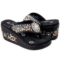15eb4d39db0f27 Montana West Flip Flops Embroidered Wedge Sandals Western Rhinestone Concho  NIB  MontanaWest  FlipFlops Black