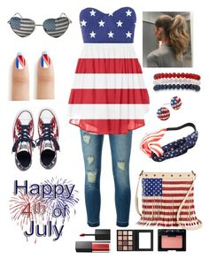 """Happy Almost Fourth of July❤️"" by koolkatefashions ❤ liked on Polyvore featuring MICHAEL Michael Kors, Converse, TWIG & ARROW, Chicnova Fashion, Kim Rogers, NARS Cosmetics and Smashbox"