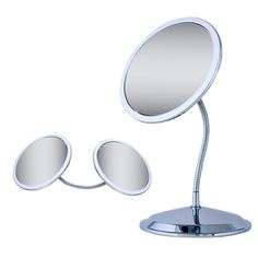 Ovente Vanity Gooseneck Dual Magnification Chrome Mirror with Suction Cups | Overstock.com Shopping - The Best Deals on Makeup Mirrors