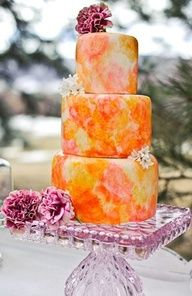 Orange watercolor wedding cake #celebstylewed