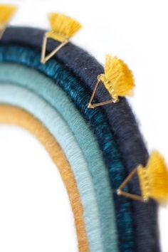 Blue and yellow geometric tribal tassle rainbow, wall hanging, fibre art Mobiles, Tween Gifts, Diy Inspiration, Boho Room, Rainbow Wall, Loom Weaving, Decoration, Fiber Art, Arts And Crafts