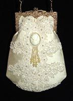 pearls and cameo with Purse silk Ivory Style Victorian