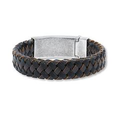 Kay Jewelers Men s Bracelet Braided Leather Stainless Steel- Men's