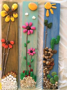 Pebble art driftwood art pebble collage wall decor pebble flowers made to order – Artofit Manualidades con piedras by katie Pebble Art Crafts – The Do It Yourself Pebble art is a massive topic as well as volumes could be created on this sole subject a Stone Crafts, Rock Crafts, Diy And Crafts, Crafts For Kids, Arts And Crafts, Art Crafts, Caillou Roche, Wall Collage Decor, Wall Decor