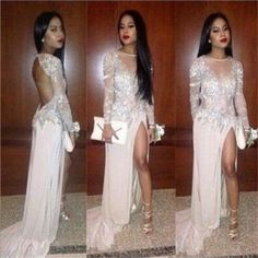 White Long 2017 Sexy Long Sleeve Backless Elegant Discount Occasion Custom Prom Dresses, PD0014