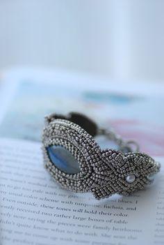 Labradorite Bead Embroidery Bracelet
