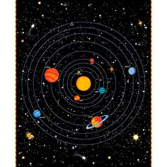 X 44 Panel Solar System Planets Orbits Sun Outer Space Astronomy Spacewalk Glow in the Dark Black Cotton Fabric Panel Planets Wallpaper, Wallpaper Space, Galaxy Wallpaper, Solar System Art, Solar System Planets, Solar System Diagram, Arte Do Sistema Solar, Solar System Wallpaper, Constellations