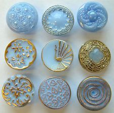 12 Vintage Sky Blue Glass Buttons, Lustre, Peacock, Gilt Flowers Alabaster Glass